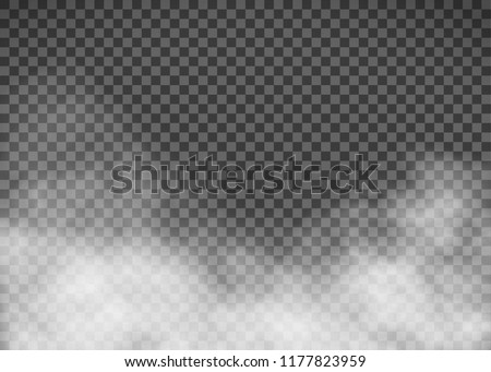 White smoke on a transparent background. Template fog. Stock vector illustration.