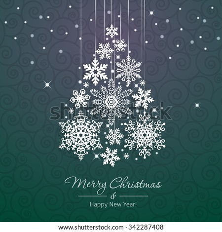 White snowflake Christmas tree on green background. Christmas vector card