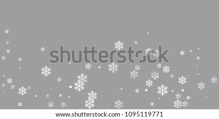 White snowflake macro vector illustration, snow flakes confetti magic scatter card. Winter Cristmas snow background. Flakes windy and flying winter trendy vector background.