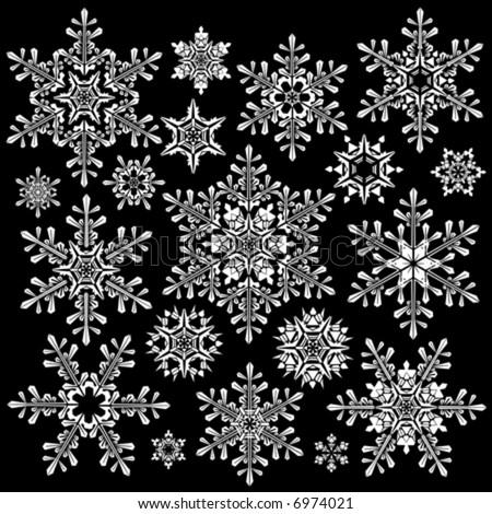 Black And White Snowflake Background White Snowflakes on Black