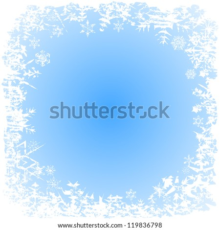 White snowflakes seasonal christmas background frame. Vector illustration