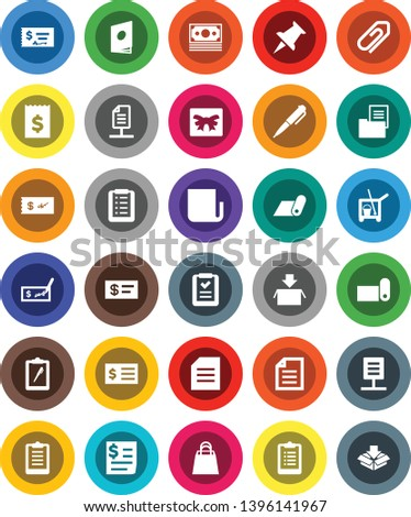 White Solid Icon Set- cleaner trolley vector, pen, document, check, receipt, clipboard, fitness mat, money, newspaper, thumbtack, network, attachment, estate, gift, shopping bag, list, catalog