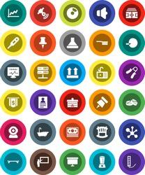 White Solid Icon Set- fetlock vector, bath, sink, university, blackboard, paper pin, personal information, molecule, graph, pie, presentation board, dollar flag, stadium, hand trainer, skateboard