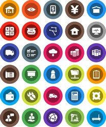 White Solid Icon Set- hand mill vector, calculator, exam, coin stack, presentation board, any currency, yen sign, client, car, clipboard, dry cargo, warehouse, music hit, speaking man, eye, network