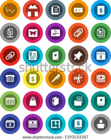 White Solid Icon Set- pen vector, schedule, paper pin, certificate, constellation, cash, annual report, receipt, binder, dollar calendar, money, document, network, attachment, plan, estate, gift
