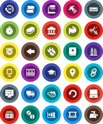 White Solid Icon Set- sponge vector, graduate hat, table lamp, presentation, bank, graph, binder, dollar flag, stadium, stopwatch, muscule hand, phone 24, film frame, music hit, satellitie, link