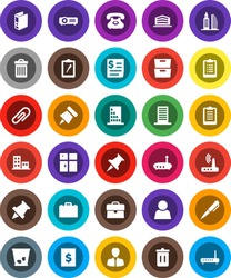 White Solid Icon Set- trash bin vector, shining window, case, pen, paper pin, archive, manager, binder, clipboard, phone, receipt, thumbtack, router, attachment, user, apartments, office building
