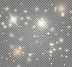 White sparks and golden stars glitter special light effect. Magic sparkles on transparent background.  Vector Illustration