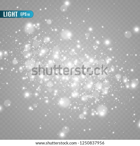White sparks and golden stars glitter special light effect. Vector sparkles on transparent background. Christmas abstract pattern. Sparkling magic dust particles