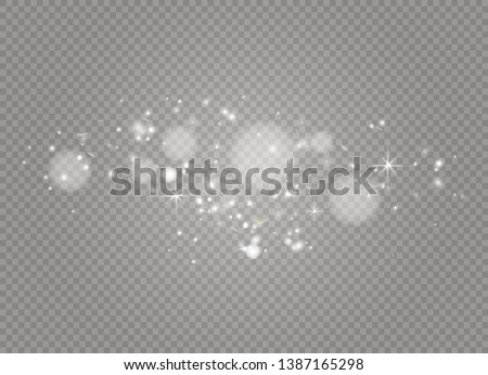 White sparks and golden stars sparkle with a special light effect. Sparkling particles of fairy dust.Vector glitters on a transparent background. Christmas abstract pattern
