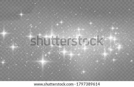 White sparks glitter special light effect. Sparkling magical dust particles. Star dust sparks in an explosion. White glitter texture christmas background. Vector illustration, eps 10.