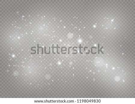 White sparks glitter special light effect. Vector dust sparkles on transparent background. Christmas abstract pattern. Sparkling magic dust particles