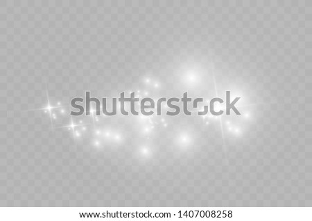 White sparks glitter special light effect. Vector sparkles on transparent background. Christmas abstract pattern. Sparkling magic dust particles -