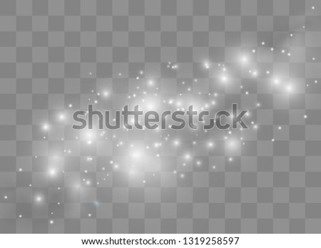White sparks glitter special light effect. Vector sparkles on transparent background. Sparkling magic dust particles.