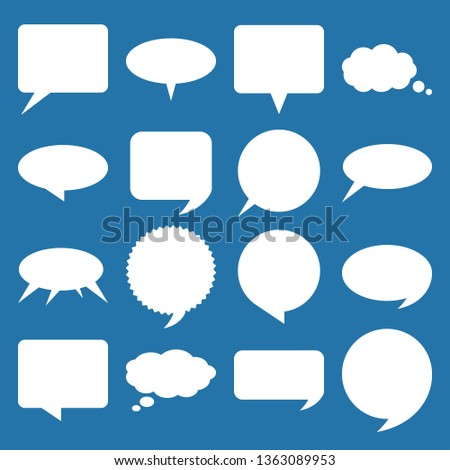 White speech and think bubbles set. Vector design elements