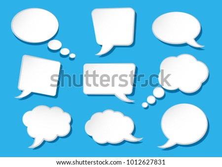 White speech bubbles collection on blue background. Blank empty speech bubbles for your text. Vector illustration