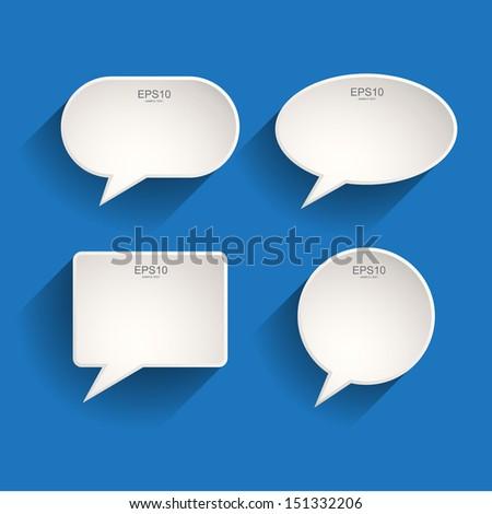 White Speech Bubbles Set - Vector Illustration