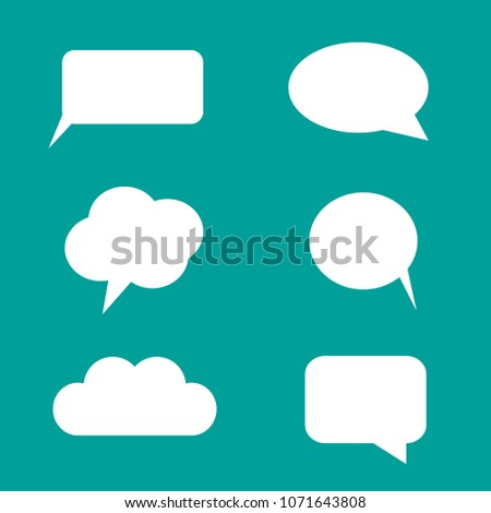 White Speech or Text Bubbles with Turquoise Background