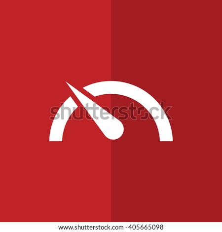 White speed limit vector icon. Red background