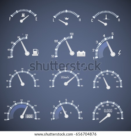 White speedometer interface icon set with dials showing the level of fuel oil and speed vector illustration