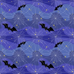 White spider web against a blue night sky with stars and bats seamless pattern. Halloween.Texture, print, ornament. Vector illustration