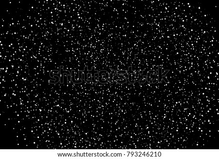 White spot circle texture template. Star dust distress scatter dots, spots on black space abstract background