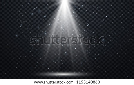 White spotlights.  Light Effects. Realistic falling snowflakes. Vector illustration