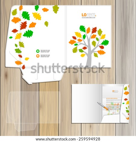 White spring folder template design for corporate identity with color tree and leaves. Stationery set