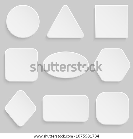 White square and round button banner set. #1075581734