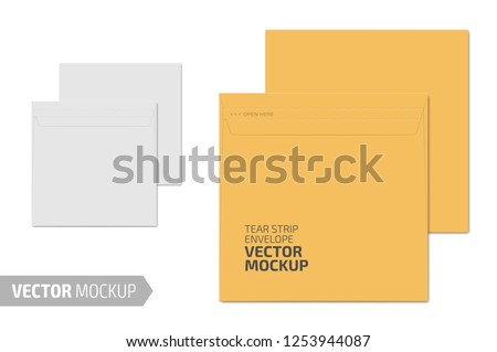 White square blank envelope with transparent window. Photo-realistic stationery mockup template with sample design. Vector 3d illustration.