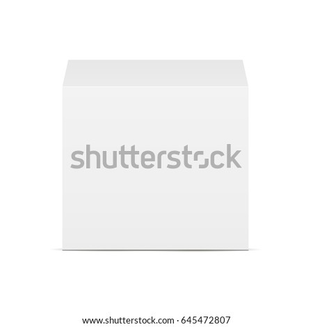 White square box - front view. Mockup for display your design. Vector illustration