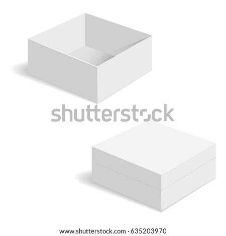 White square box vector templates. Paper container for product. Vector illustration.