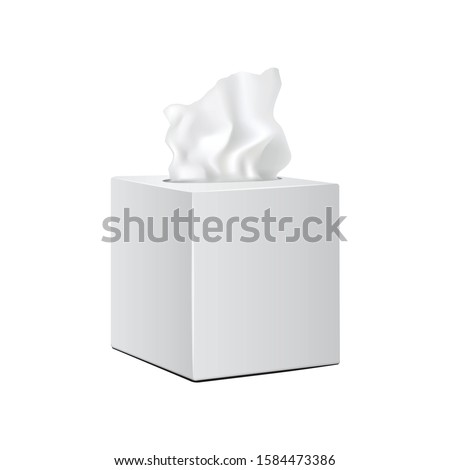 White square box with Paper Napkins. Realistic vector mockup packaging for your design Photo stock ©