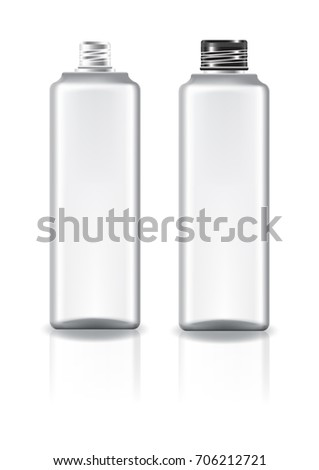 White square cosmetic bottle with black screw lid for beauty or healthy product. Isolated on white background with reflection shadow. Ready to use for package design. Vector illustration.