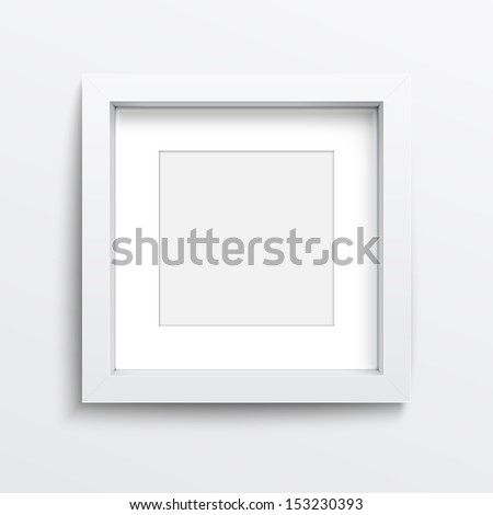 White square frame on gray wall with realistic shadows. Vector illustration. EPS10.