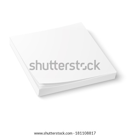 White square paper or sticker block template, isolated on white background. Vector illustration.