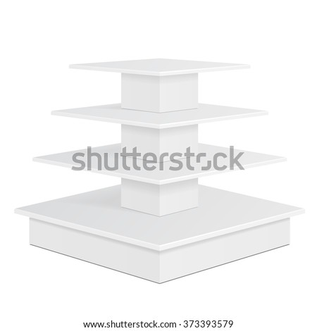 White Square POS POI Cardboard Floor Display Rack For Supermarket Blank Empty Displays With Shelves Products On White Background Isolated. Ready For Your Design. Product Packing. Vector EPS10