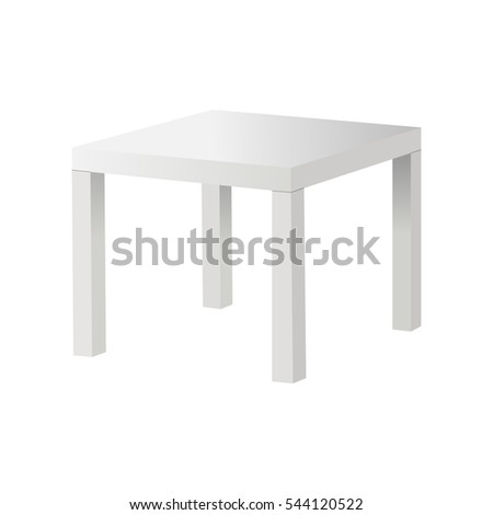 White square table Ikea isolated. Vector illustration