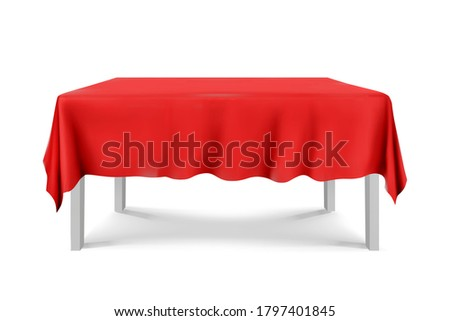 White square Table with red tablecloth on a white background.cloth,realistick,3d.furniture for interior, vector illustration Stockfoto ©
