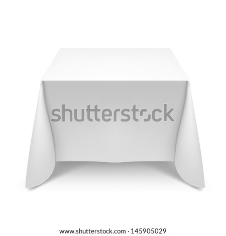 White square table with tablecloth. Illustration on white