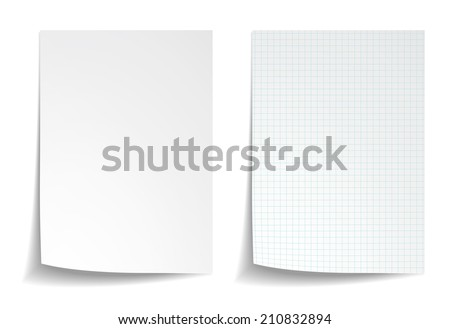 Shutterstock White squared notebook paper on white background