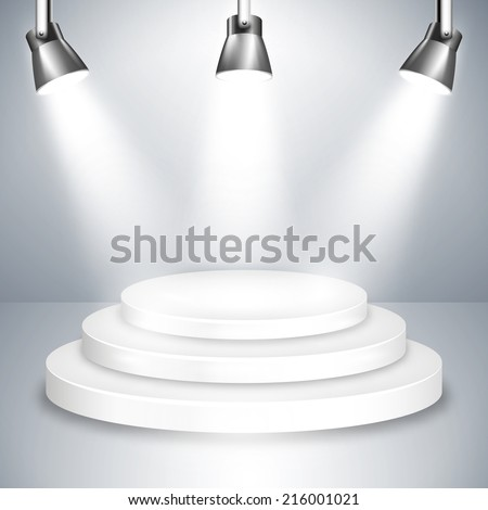 White Stage Platform Graphic Illuminated by Three Shiny Spotlights from Above