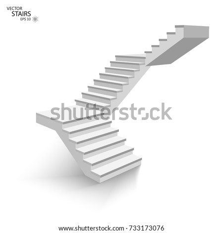 White staircase, 3d staircase. Isolated on white background. EPS10