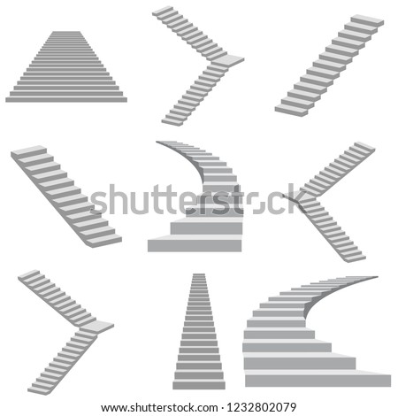 White stairs collection isolated on white background