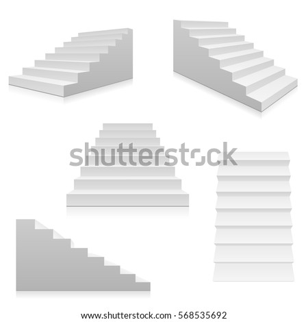 White stairs, 3d interior staircases isolated on white. Vector steps collection. Staircase for interior illustration isolated on white background.