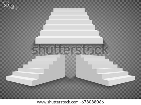 White stairs, 3d staircases. Set, Isolated on transparent background. EPS10