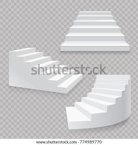 white stairs realistic isolated
