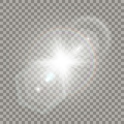 White star explosion with flare effect. Transparent glares, particles and rainbow naturally looking like camera distortion.