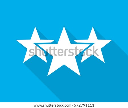 White stars icon with long shadow on blue background. Three stars in flat design. Vector illustration. Simple star sign.