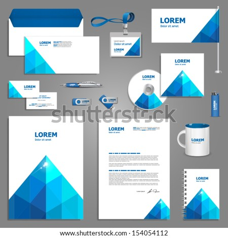 royalty free blue stationery template design with 154739957 stock